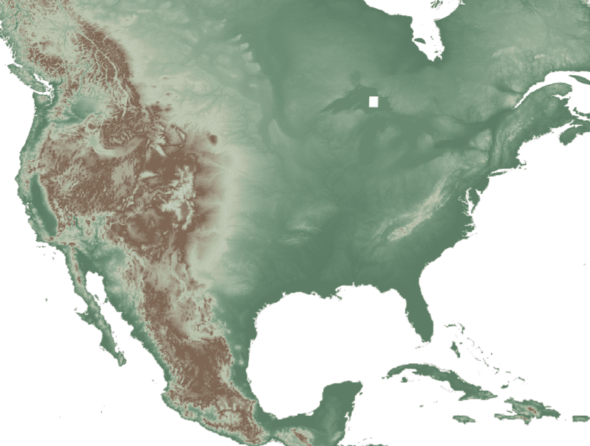 SRTM 30-meter resolution elevation data for North America, visualized with a hypsometric tint: lower elevations are deeper greens; brown and white shades correspond to higher elevations