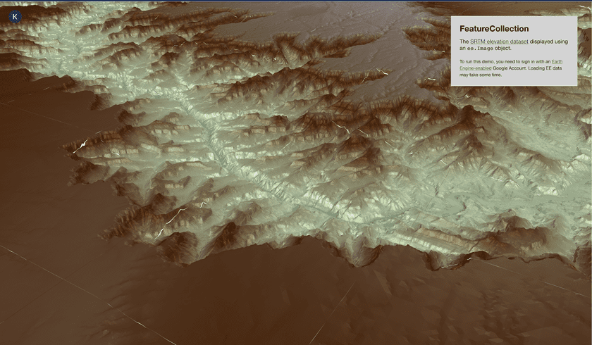 Earth Engine Raster Tiles interpreted as elevation data by the deck.gl TerrainLayer and displayed in perspective view
